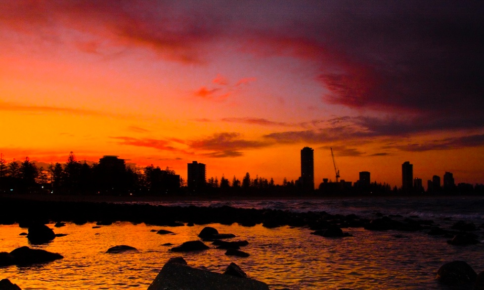 Burleigh Heads silhouette at sunset