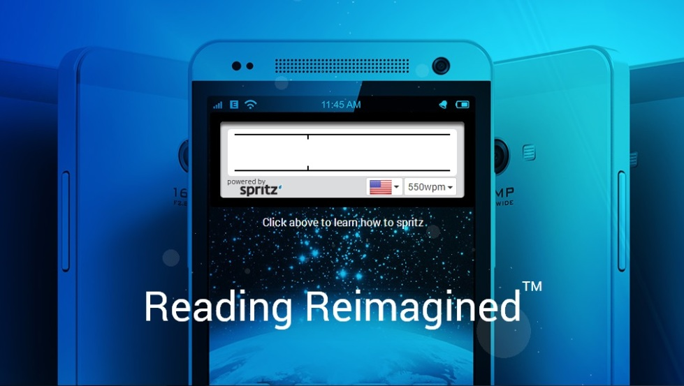 Promotional artwork from Spritz of a smartphone with the Spritz reading application