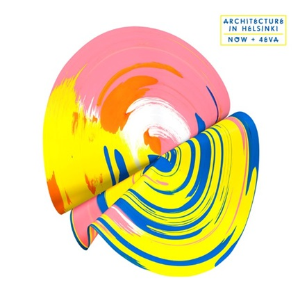 Album cover for Architecture in Helsinki's new album NOW+4EVA featuring a multicoloured, folded record